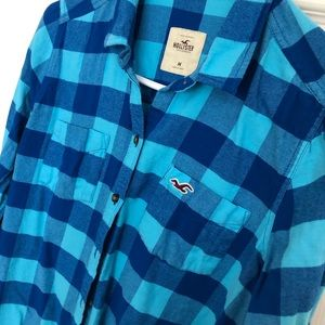 Bright blue Hollister checkered flannel